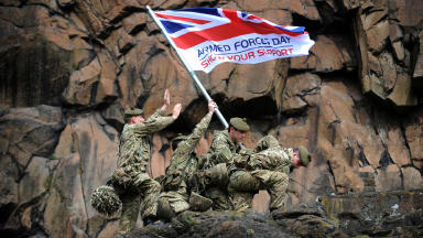 Soldiers from 1SCOTS Royal regiment of Scotland pose on Arthur's Seat for image promoting Armed Forces Day