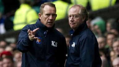 Kilmarnock manager Kenny Shiels (left) chats with assistant Jimmy Nichol as they take the lead at Celtic Park.