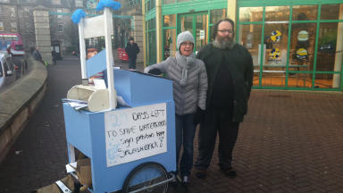 Leith Waterworld: campaigners Helen Howe and Adrian Cannon man the SUB