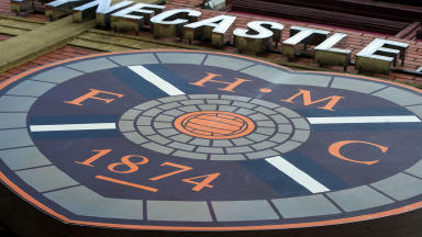 GV of Hearts badge at Tynecastle Stadium.