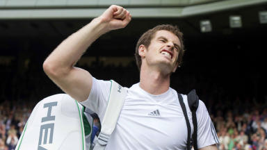 Andy Murray punches the air with delight after his win over Fernando Verdasco