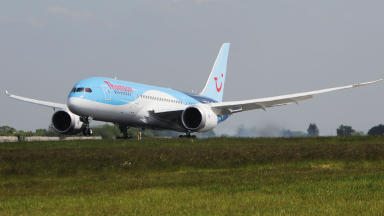 Thomson Boeing 787 Dreamliner takes off from Glasgow Airport on first long haul flight