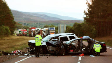 Crash on the A9 at Kingussie where three people died and three more injured.