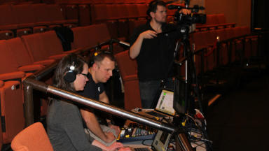 A Scottish film production crew in action at Pitlochry Theatre.