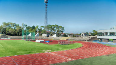 Quality image of the track at Meadowbank Stadium in Edinburgh.