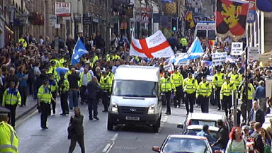 Scottish Defence League (SDL) march, Edinburgh, Royal Mile, August 17 2013. STV screengrab.
