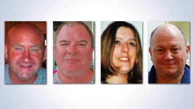 USE THIS ONE. Victims of Shetland helicopter crash on August 24 2013: Duncan Munro, Gary McCrossan, George Allison, Sarah Darnley.