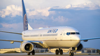 Diversion: The United Airlines flight landed at Edinburgh Airport.