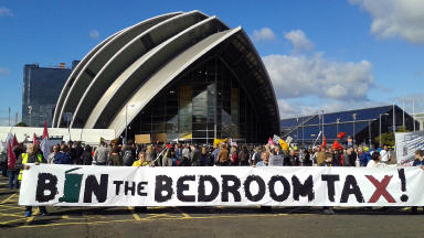 """""""Bedroom Tax"""" protest outside Liberal Democrat conference at SECC in Glasgow on 14 August 2013."""