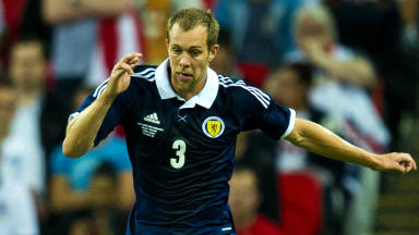 Steven Whittaker in action for SCotland.
