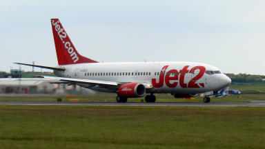 Jet2 737-300 passenger jet at Edinburgh Airport 2009. Creative commons image from Wikipedia