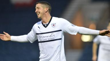 Calum Elliot celebrates after scoring his second goal of the match to give Raith a 3-0 lead.