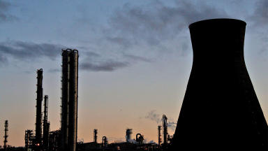 Grangemouth Refinery, owned by Ineos near Falkirk, at night. Quality image from Flickr