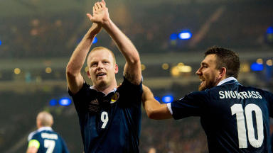 Scotland's Steven Naismith (left) celebrates his goal with team-mate Robert Snodgrass