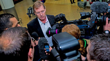 Dave King speaking to media at Glasgow Airport on Friday, October 25, ahead of talks over Rangers boardroom role.
