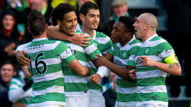 Virgil Van Dijk (2nd left) is hailed after scoring his first goal for Celtic