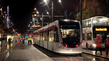 Trams first journey in Edinburgh city centre after successful test run.