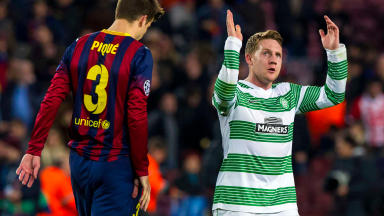 Celtic's Kris Commons applauds the fans at full time.