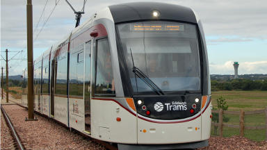 Edinburgh tram with new branding.