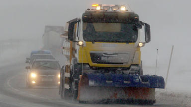 Gritter snow plough on A9 near Dalwhinnie, Invernessshire winter snow quality news image weather winter2013 #wintergeneric #weathergeneric