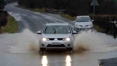 The A76 in Ayrshire, Scotland has been badly affected by flooding (December 30)