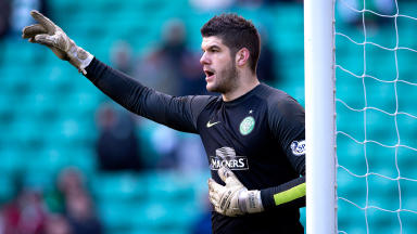 Fraser Forster in action for Celtic.