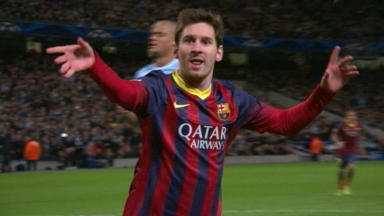 Lionel Messi scores for Barca against Man City.