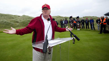 US tycoon Donald Trump officially opens his multi-million pound Trump International Golf Links course.