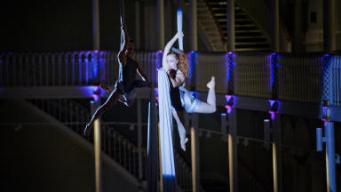 Performers in the National Museum of Scotland at the first RBS Museum Lates
