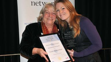 Sandra White MSP and Claire Bee,  Mentoring Project of the Year award winner