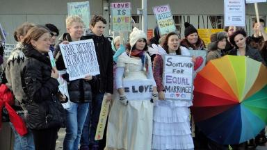 Protestors supporting gay marriage outside the Scottish Parliament