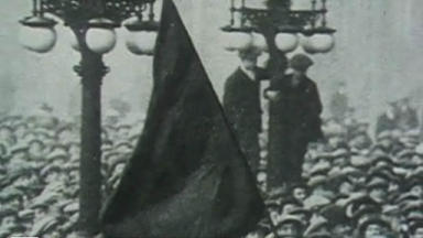 Still from footage of the Battle of George Square