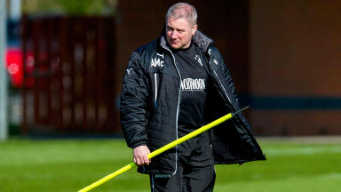 Rangers manager Ally McCoist keeps a close eye on training.