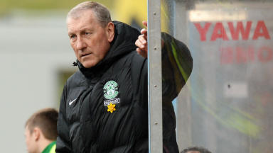 Hibernian manager Terry Butcher against Partick Thistle.