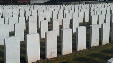 First World War unmarked graves. STV picture.