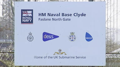 Faslane HM Naval Base Clyde sign for Trident submarine base