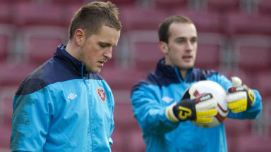 Hearts goalkeeper Marian Kello warms up in the shadow of team-mate Jamie MacDonald