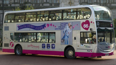 First Glasgow's new hybrid bus on display in George Square