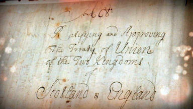 Close-up of Act of Union, 1707. STV screenshot.