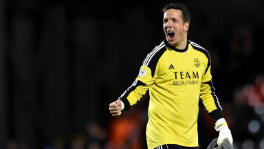 Aberdeen keeper Jamie Langfield celebrates at full time.