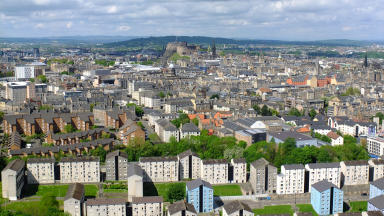 Quality image of Edinburgh - general view of housing and castle.