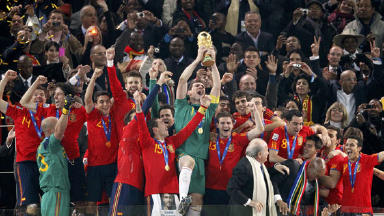 Spain lifting the World Cup in 2010.
