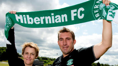 "New team: Chief Executive Leeann Dempster unveils Alan Stubbs and ""Marathon Bet"" as Hibernian's new manager and sponsor."
