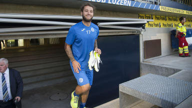 Stevie May training for St Johnstone at FC Luzern.