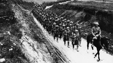 World War One Great War First World War Highland regiment Scottish soldiers in kilts marches to trenches Public domain image