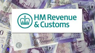 HMRC Logo over UK Sterling notes