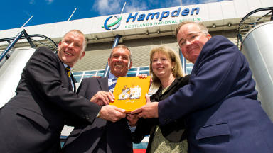 SFA Chief Executive Stewart Regan (left) joins SFA President (2nd from left), Cabinet Secretary for Commonwealth Games Shona Robison Shona Robison (2nd from right) and Glasgow City Council Leader Gordon Matheson
