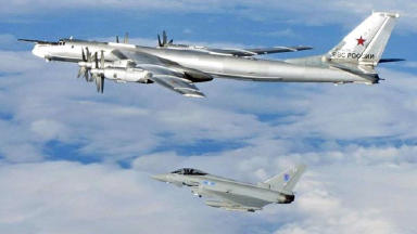 Bear bomber: RAF Typhoon with one of the russian Tu-95s