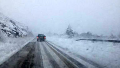 Weather problems: The A9 was reduced to one lane southbound at Drumochter on Sunday.