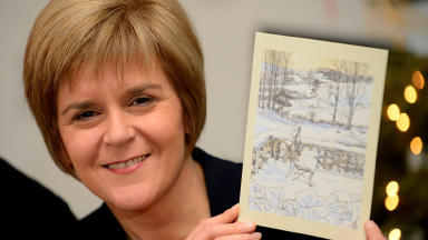 Nicola Sturgeon with First Minister's Christmas Card quality news image uploaded December 16 2014